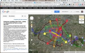 Carte des pistes cyclables et itinéraires vélo conseillés à Paris