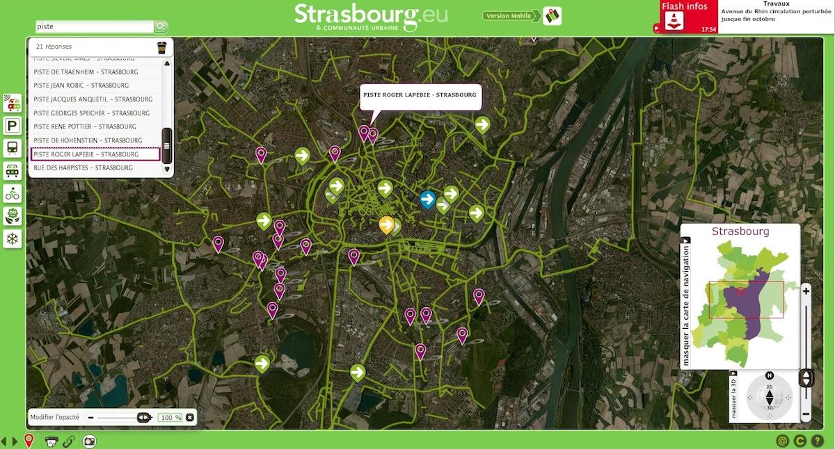 Strasbourg carte interactive des pistes cyclables