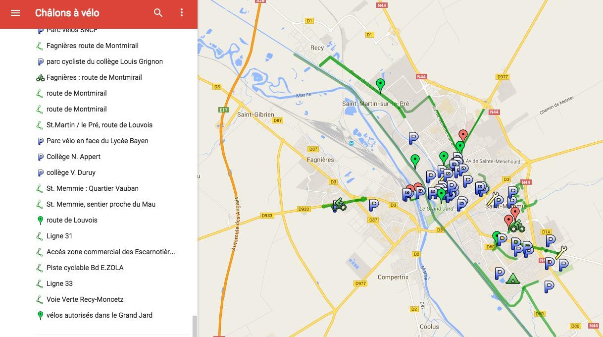 Carte des pistes cyclables de Châlons-en-Champagne (51)