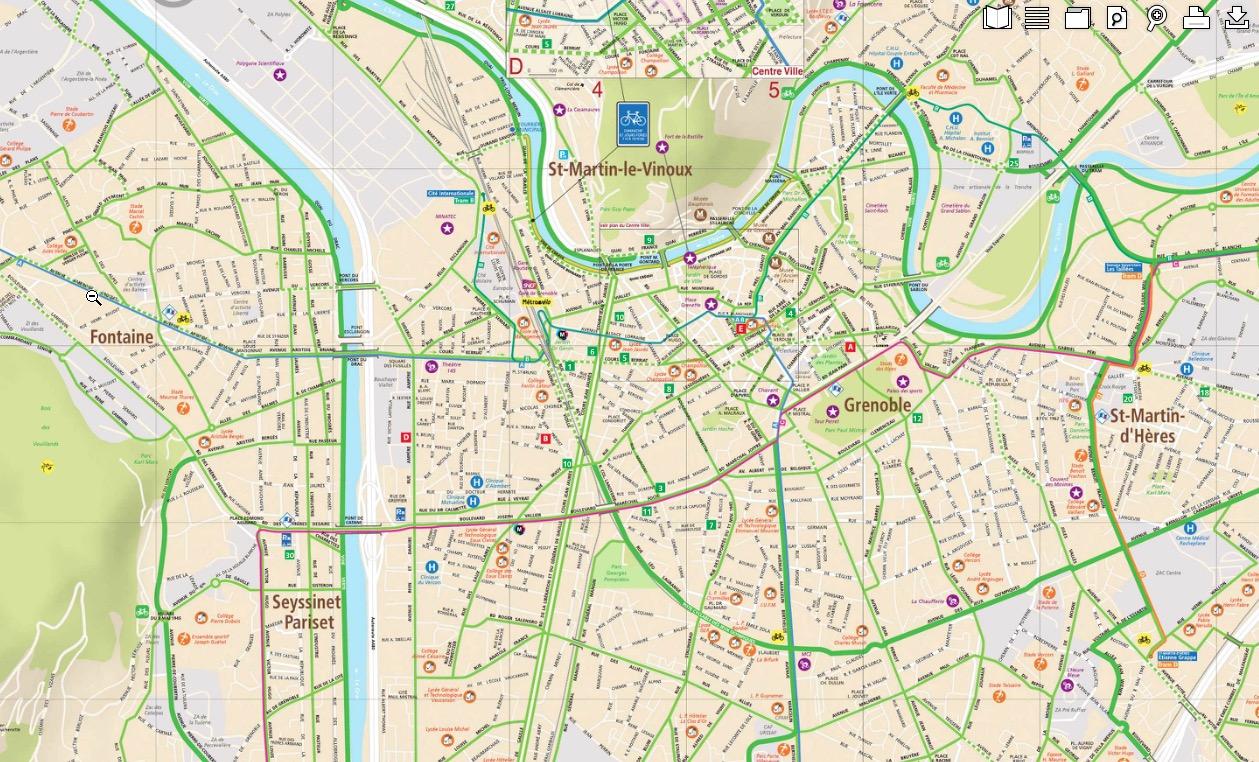 Les itinéraires cyclables de Grenoble (38)