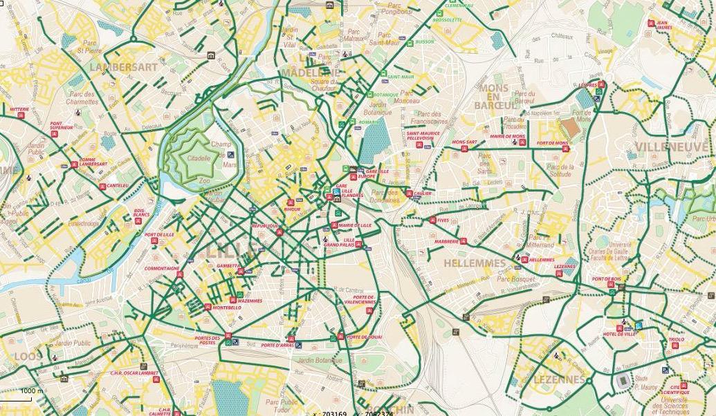 Le plan des pistes cyclables de Lille (59)