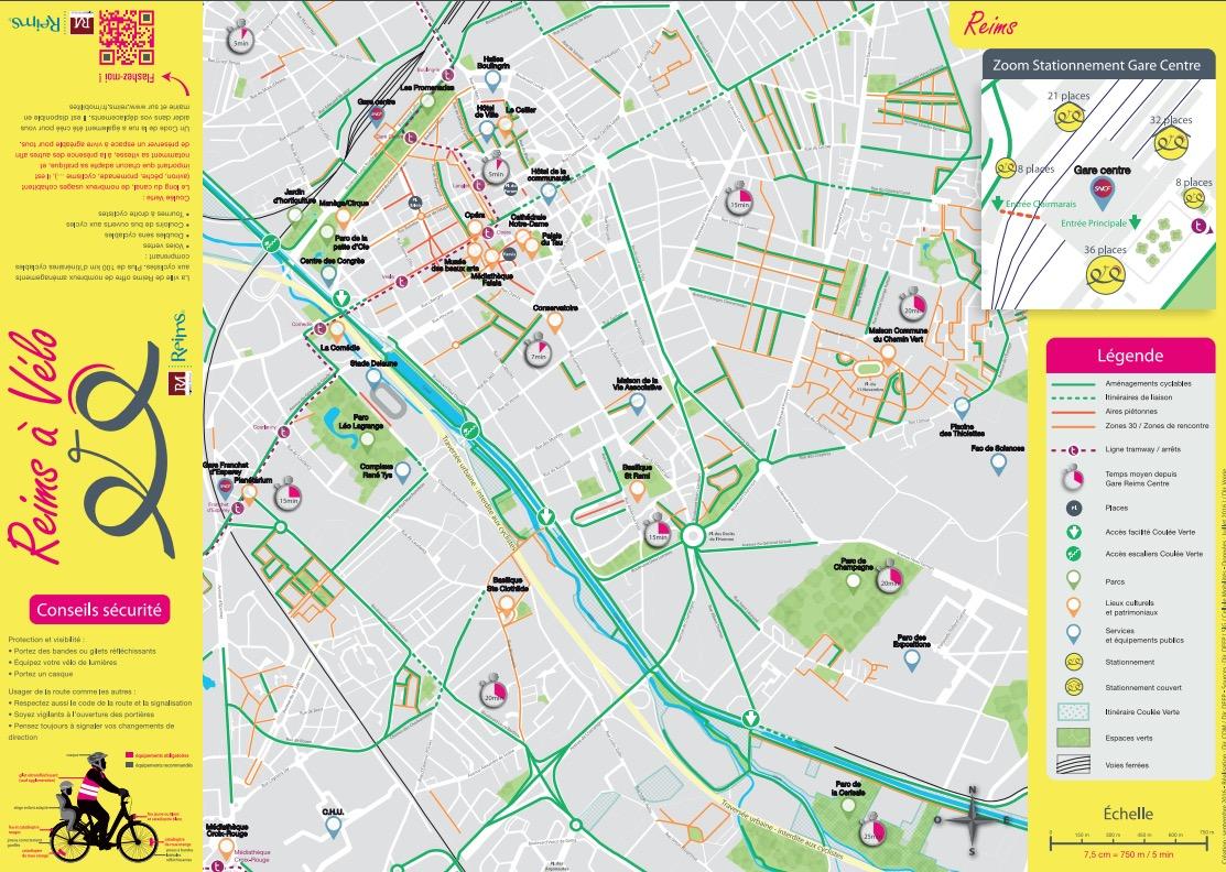 Les itinéraires cyclables de Reims (51)