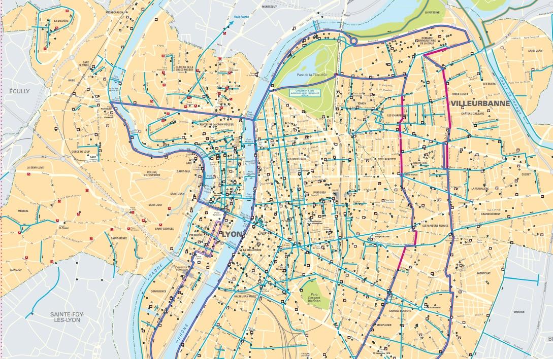 Les pistes cyclables de Villeurbanne (69)