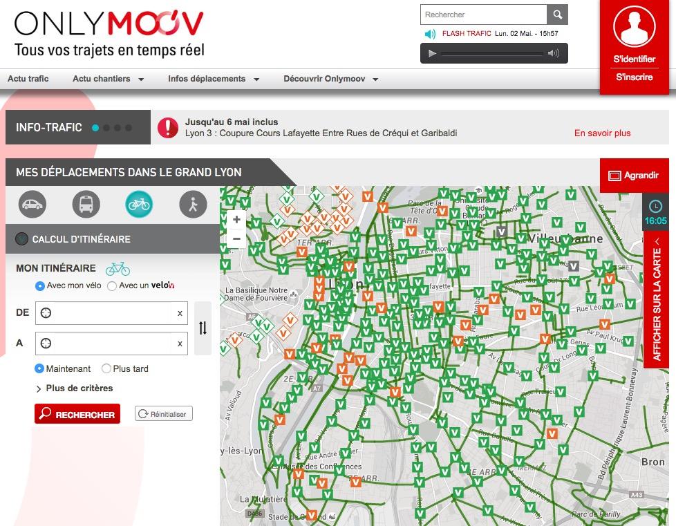 La carte des pistes cyclables de Lyon (69)