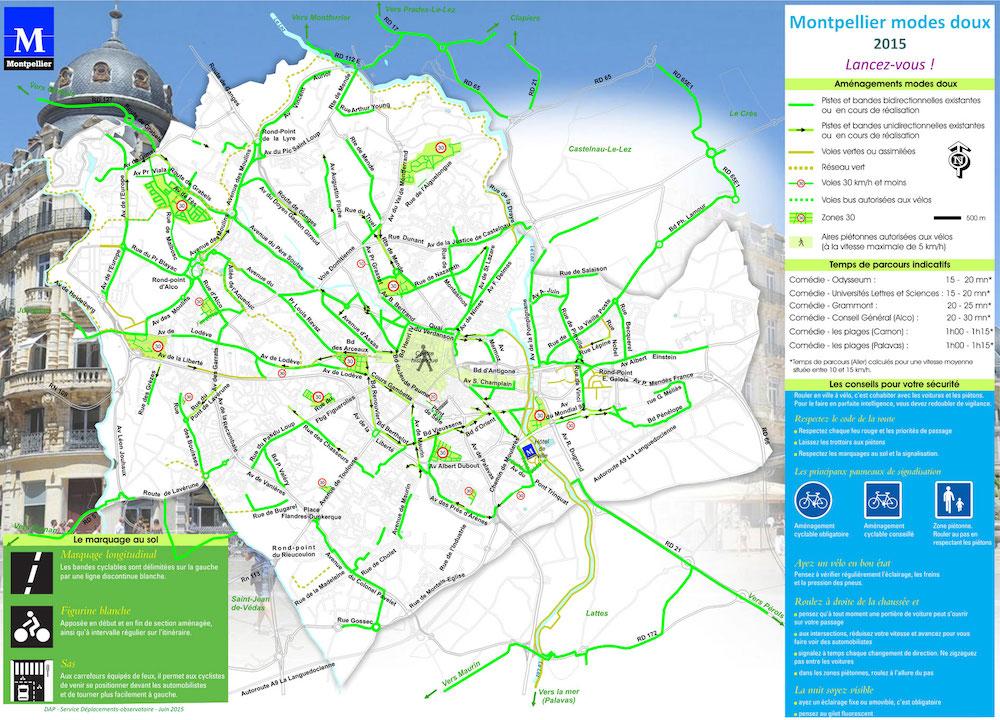 Plan des pistes cyclables de Montpellier