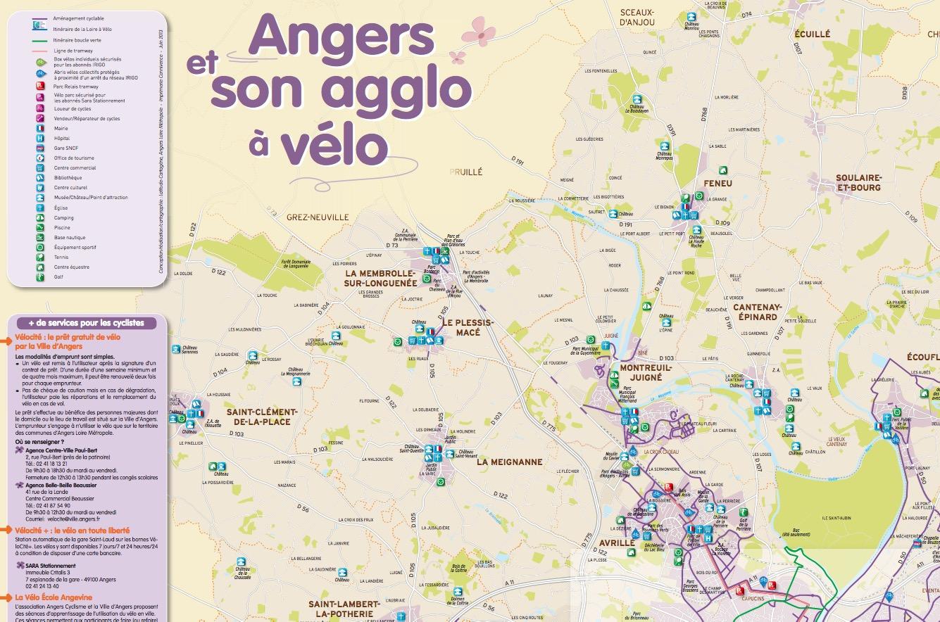 Les pistes cyclables d'Angers (49)