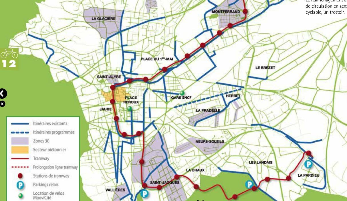 Les pistes cyclables de Clermont Ferrand (63)