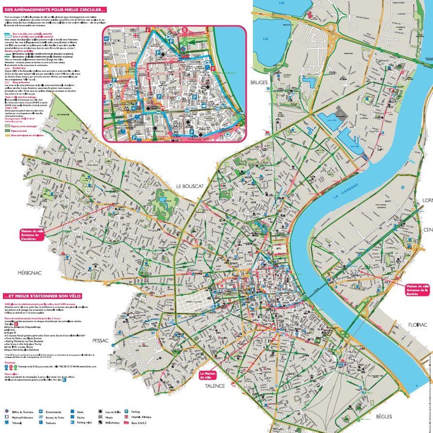 Plan des pistes cyclables de Bordeaux (33)