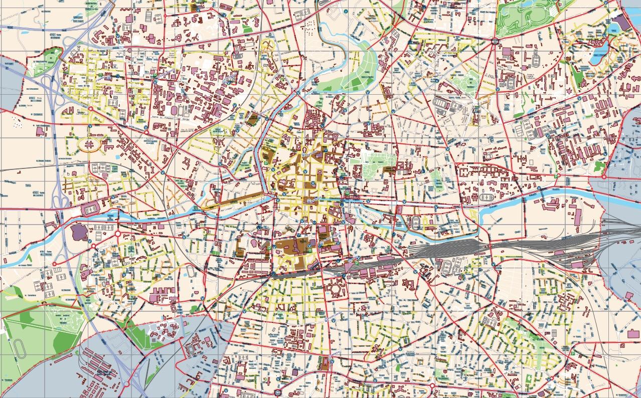 Plan des pistes cyclables de Rennes (35)