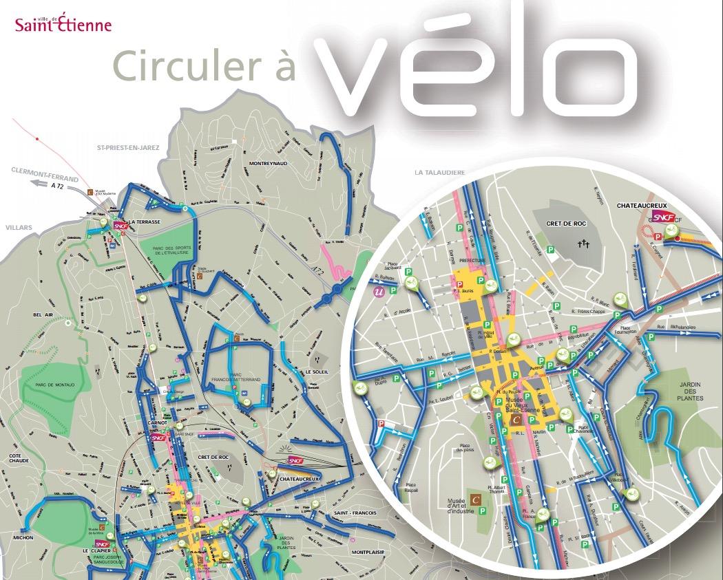 Les pistes cyclables de Saint-Etienne (42)