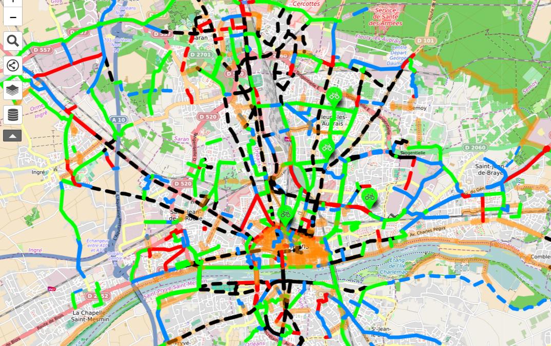 Les pistes cyclables d'Orléans (45)