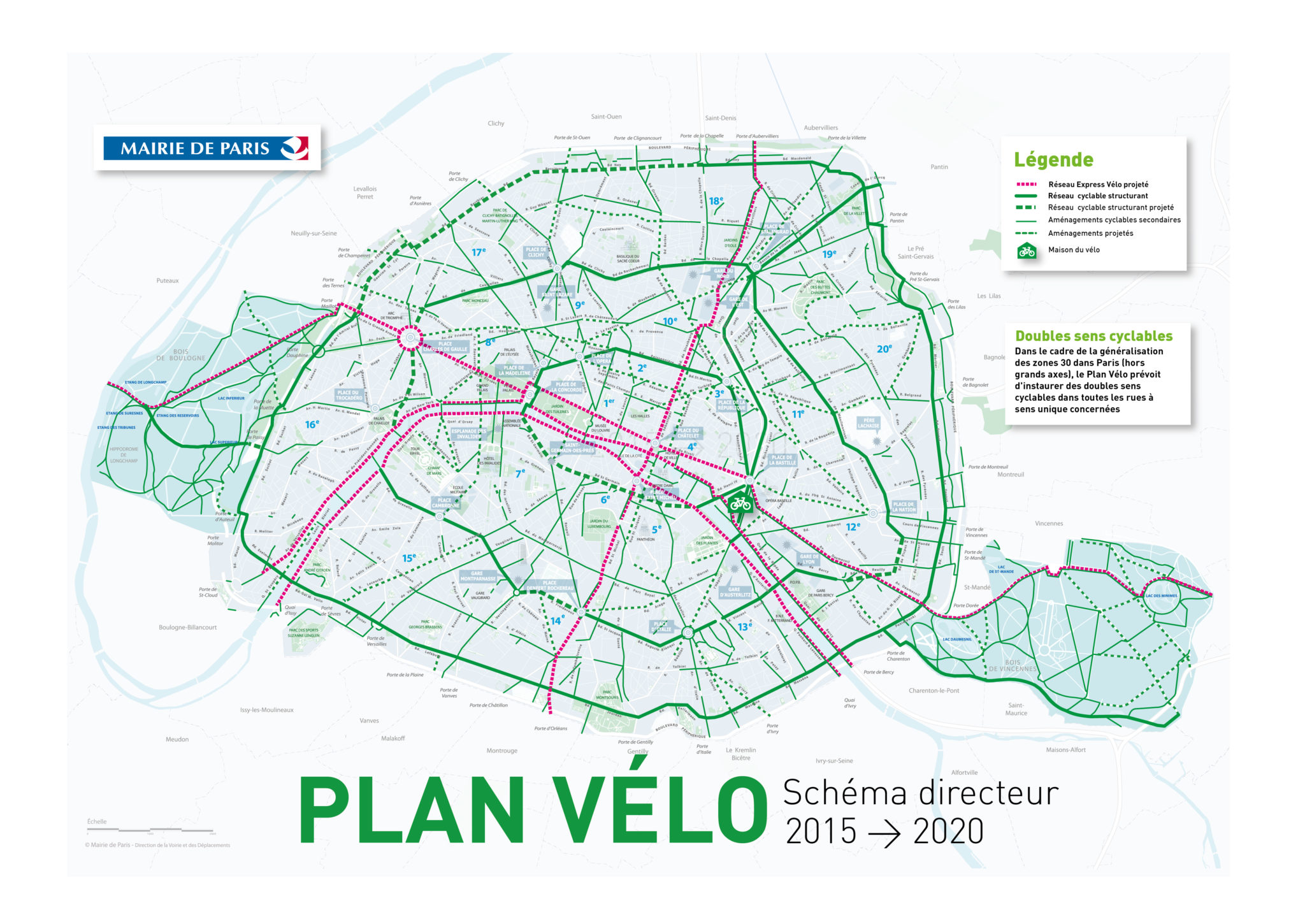 carte piste cyclable paris Plan des pistes cyclables de Paris   Pistes Cyclables