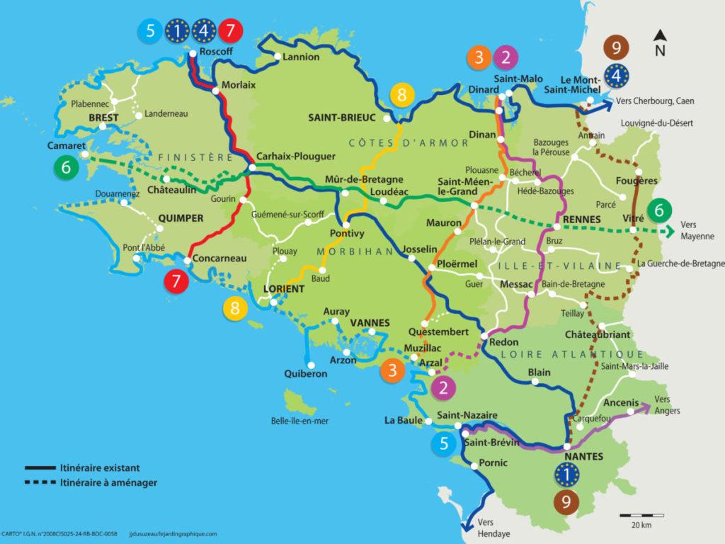 Carte Bretagne Questembert.Carte Des Voies Vertes Et Pistes Cyclables En Bretagne
